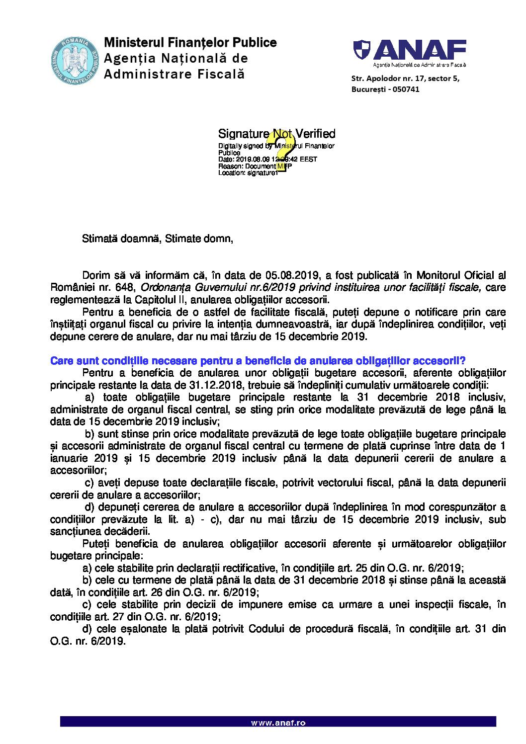 Informare privind instituirea unor facilități fiscale