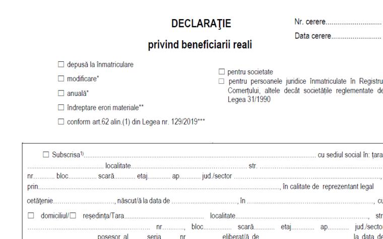 Obligatia depunerii declaratiei privind beneficiarul real.